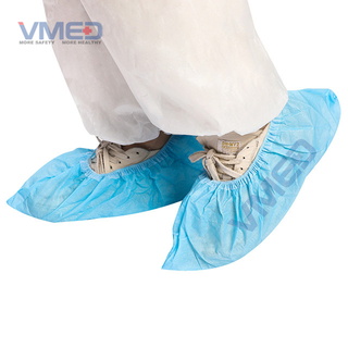 Disposable CPE Light Blue Shoe Cover With Half Elastic