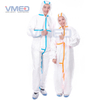 Disposable White Micro-porous Protective Coverall With Blue Strips