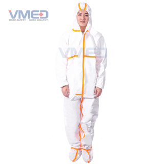Disposable White Micro-porous Protective Coverall With Orange Strips