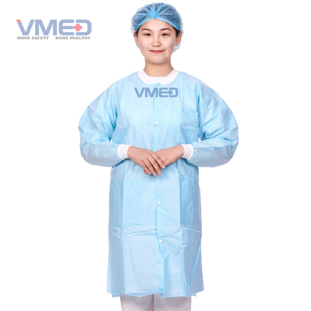 Blue Disposable Protective Non-woven Lab Coat