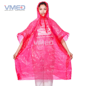 Pinky Red PE Rain Poncho with Attached Hood