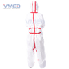 Disposable White Micro-porous Protective Coverall With Red Strips