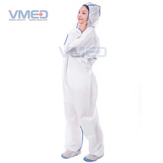 Disposable Type 5&6 SMS White Coverall With Overlocking Stitch