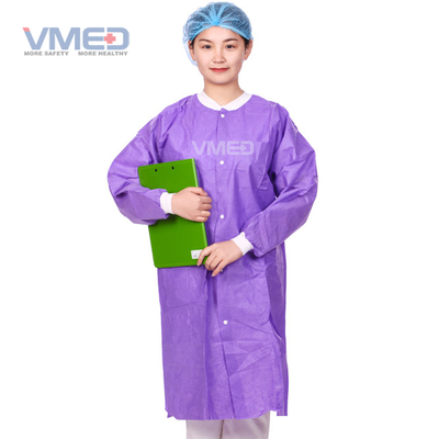Disposable Medical Non-woven SMS Lab Coat with Knitted Cuffs